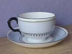 Vintage 1920's Art Deco Teacup and saucer, Grosvenor tea cup, Black and blue tea…