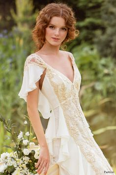 papilio wedding dresses 2014 carmina gown flutter sleeves gold bead close up