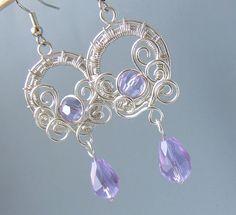 Purple fairy earrings silver plated handmade wire by VeraNasfa, $32.00