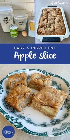 english Apple Pie Slice Recipe Only 5 Ingredients Video Tutorial Healthy Apple Desserts, Apple Cake Recipes, Easy Baking Recipes, Easy Desserts, Delicious Desserts, Cooking Recipes, Dessert Recipes, Kiwi Recipes, Baking Ideas