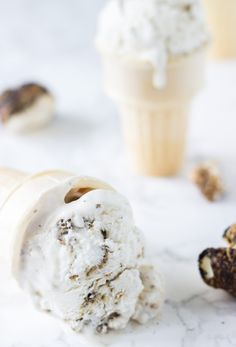This Coconut Marshmallow Fluff Ice Cream recipe is creamy, full of toasted marshmallow bites and delicious.