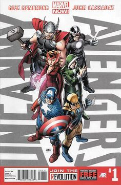 """""""New Union"""" ....Rick Remender Writer , Art And Cover Art John Cassaday __No fan can miss the blockbuster debut of an all-new Avengers team featuring members from all across the Marvel Universe...a tea"""