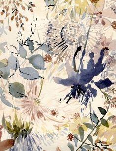 Watercolor floral print by Luli Sanchez, textile designer