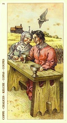 Two of Cups - Albrecht Dürer Tarot (2002) by Giacinto Gaudenzi