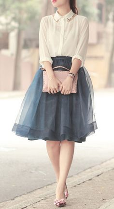ClassyPretty organza tulle skirt http://rstyle.me/n/hmnydnyg6 ♥ Wonderful! www.thewonderfulworldofdance.com