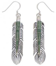 Southwest Feather Turquoise Inlay Earrings EX32005