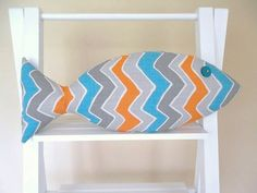 Beachy Pillow  Fish Pillow  Orange and by CatherinePicone on Etsy, $22.00