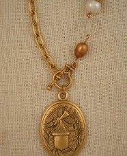 """Brushed gold 33"""" necklace with vintage acorn pendant by ExVoto Vintage Jewelry"""