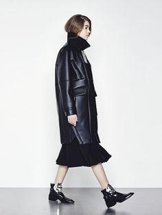 @andwhatelse long black leather coat
