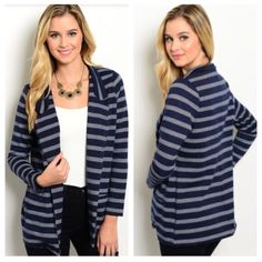 Navy striped blazer Navy striped blazer Materials- 60% polyester/ 37% cotton/ 3% spandex. This is a thick jacket. Two pockets on the front. There is no closure to this piece. NWT. Brand new with tags. Availability- S•M•L • 3•2•1 Price is firm unless bundled. No trades Jackets & Coats Blazers