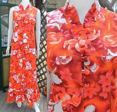 1960s Psychedelic Hawaiian Floral Dress Bright Maxi Dress