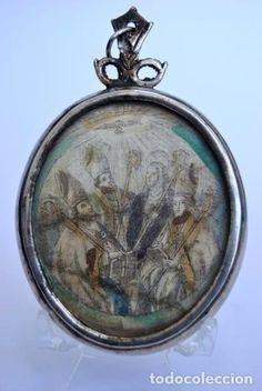 Antigüedades: RELICARIO DEVOCIONARIO. EN PLATA DE LEY. PUNZONADA SAN JOSE SOBRE VITELA A DOS CARAS SIGLO XVIII - Foto 4 - 74355263