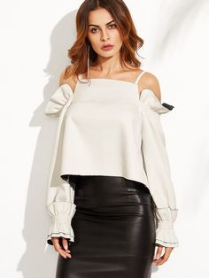 4fe8269119d1 Online shopping for White Split Back Cold Shoulder Ruffle Top from a great  selection of women's fashion clothing & more at MakeMeChic.