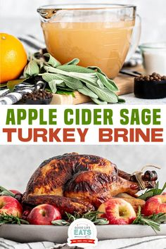 This Apple Cider Sage Turkey Brine recipe results in a moist, flavorful turkey! In this post, I've also included a few rules you should know before attempting to brine a turkey. We tested this apple cider turkey brine out in advance.We all agreed that it is definitely a winner! | Good Life Eats @goodlifeeats #turkeybrine #howtobrineaturkey #thanksgivingrecipes #easyturkeybrine #thanksgivingmenu #brinerecipes #bestbrineforathanksgivingturkey #thanksgiving #goodlifeeats Quick Chicken Recipes, Grilled Chicken Recipes, Fish Recipes, Drink Recipes, Apple Cider Turkey Brine Recipe, Easy Turkey Brine, Thanksgiving Recipes, Holiday Recipes, Winter Recipes