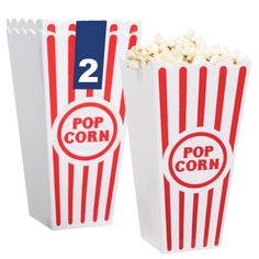 "Take a trip to the past with plastic red and white striped popcorn buckets! Like the striped paper popcorn bags of the yesteryear, each plastic bucket is 7¼"" tall and holds plenty of popco"
