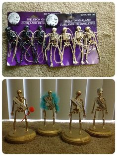 Skeleton trophies for different awards at a party! DIY skeleton trophies -- made from Dollar Store skeletons, wood plaques from Michael's, spray paint, glue, and sections of toilet paper rolls as the sashes! Made these for our Halloween costume party... Dreadful Disguise (worst/least effort), Original Individual (most unique), Mr. Funny Bones (funniest), and King Costume (best)!