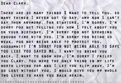 Dear Clary, I miss you ... part 1