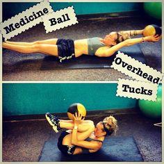 Medicine Ball Overhead Tucks - Good Ab Workout!