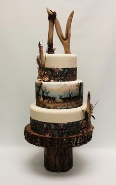Wedding Processional Songs before Wedding Guest Dresses Color except Wedding Invitations Ideas Pink Camo Wedding, Camo Wedding Cakes, Country Wedding Cakes, Themed Wedding Cakes, Wedding Cake Rustic, Wedding Cake Decorations, Wedding Cake Toppers, Themed Cakes, Country Grooms Cake