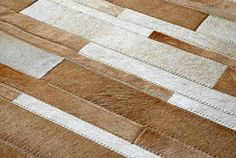 A Beige stripes patchwork rug design cowhide area rugs carpet cowskin leather 217