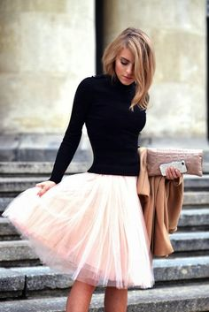 Adorable cute fall fashion in tulle and black sweater