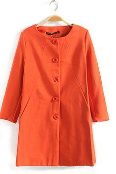 Orange Button Front Long Outerwear
