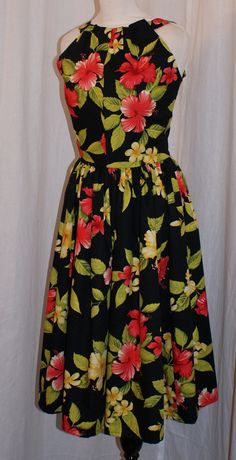 Vintage 1950s inspired black Hawaiian print full by OuterLimitz, £85.00