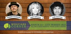 Wed, March 23 @citywinerynash | A special fundraiser show with three singer-songwriters: Amy Speace, Tommy Womack and Tim Easton to benefit Musicians Corner. #LiveMusic #Nashville #Fundraisers