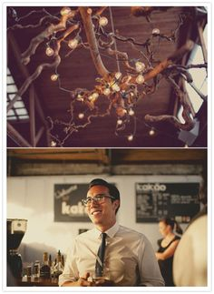 Knobby branches with patio lights twisted through - would LOVE to do something like this over our dining room table for a while (until I got the urge to do something a bit sleeker, that it is)