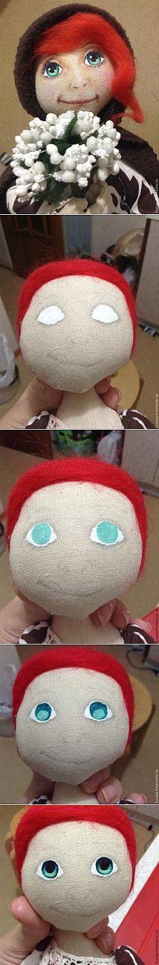Nakreslete tvář panenky.  velmi detailní stínování