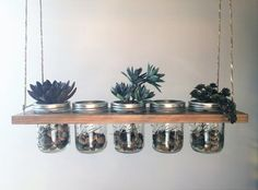 Horizontal Hanging Mason Jar Planter This is great for planing herbs and small plants. Can also be used for decorations, storage and candle holders. Would be beautiful with candles over a rustic table. Item is stained Antique Oak and includes (5) 16oz Wide Mouth Clear Ball Mason