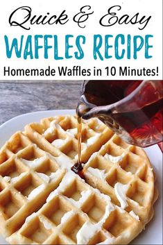Easy Fast Waffles Recipe – The Mommy Mouse Clubhouse Looking for a quick waffle recipe? This Easy Fast Waffles Recipe can be whipped up and ready for the waffle iron in less than 5 minutes. Perfect for busy mornings! Easy Waffle Recipe, Waffle Maker Recipes, Waffles For Two Recipe, Pancakes And Waffles, Breakfast Waffles, Homemade Waffles, Breakfast Recipes, Easy Meals, Pancake