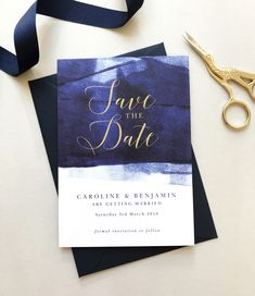 Personalised navy blue and gold wedding save the date cards from the Grace wedding stationery collection by Project Pretty Wedding Save The Dates, Save The Date Cards, Navy Blue And Gold Wedding, Wedding Stationery, Getting Married, Dating, Invitations, Pretty
