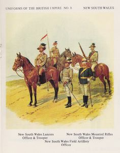 Units from New South Wales by Richard Simkin. Unit details on plate Military Art, Military History, Military Uniforms, Anzac Soldiers, British Army Uniform, Asia, British Colonial, Napoleonic Wars, Armed Forces