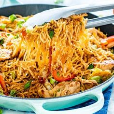 Ramen Stir Fry is a simple but tasty dish that is perfect for any night of the week. Packed full of crunchy veggies cooked down in a savory spicy sauce, served over ramen noodles, this dish is a home run! Chicken Thights Recipes, Chicken Parmesan Recipes, Chicken Salad Recipes, Stir Fry Recipes, Cooking Recipes, Ramen Recipes, Carrot Recipes, Healthy Recipes, Kitchens
