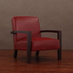 Add a big splash of color with this edgy burnt red leather lounge chair. This comfortable lower profile lounge chair with arm rests and a wooden base adds pizazz to any room. The leather is treated with a polyurethane coating to keep it looking great.