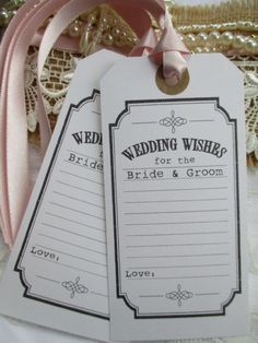 10 Wedding Wishes for the Bride Groom White Vintage Wishing Tree Tags Choose…