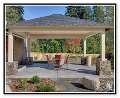 love the stone design at the base of the patio cover. | outdoor ... - Free Standing Patio Cover Designs
