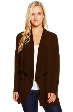 Karen Kane Drape Front Cardigan available at #Nordstrom Light grey is perfect for Italy