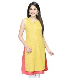 Yellow Printed Dobby Cotton Double Layered Kurta