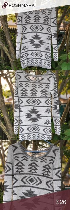 Grey Aztec print sweater size L long length His beauty helped me get away with wearing leggings because it goes down to your butt, so technically you could wear it as a very very short dress with something under it. It adjusts to your body beautifully and hugs your curves but doesn't suffocate or add bulk. Perfect for fall season and to wear under a coat during winter Charlotte Russe Tops Blouses