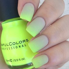 beige to neon yellow ombre matte nails @ashnevarez | #gradient manicure / nailart, love how the gradient is more towards the tips! using Sinful Colors 'Neon Melon' + Pure Ice 'Shore Bet'