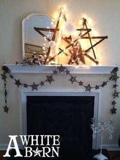 cotton stems, living room, mantlescape, stick star garland, tobacco stars, twinkle lights