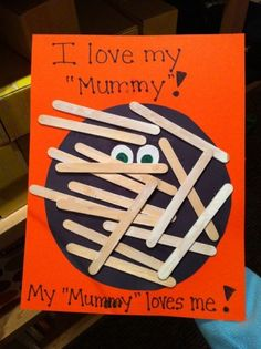 Preschoolers Mummies will love this crafty idea.  See more preschool Halloween crafts and party ideas at one-stop-party-ideas.com