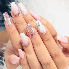 Nail art is a very popular trend these days and every woman you meet seems to have beautiful nails. It used to be that women would just go get a manicure or pedicure to get their nails trimmed and shaped with just a few coats of plain nail polish. Cute Acrylic Nails, Acrylic Nail Designs, Cute Nails, Pretty Nails, Nail Art Designs, Nails Design, Marble Acrylic Nails, Rose Gold Nails, Glitter Nails