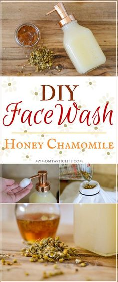 DIY Face Wash - Honey Chamomile With Castile Soap - This Natural Foaming Cleanser Is Great For Acne And Sensitive Skin #DIY #Facewash #Natural #Homestead