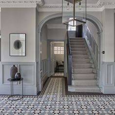 Victorian Home, Epping Hall Tiles, Tiled Hallway, Hallway Flooring, Modern Hallway, Victorian Terrace Interior, Victorian House Interiors, Victorian Homes, Entrance Hall Decor, Hallway Ideas Entrance Narrow