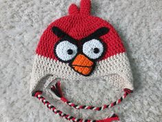 Red Angry Birds Inspired Preteen Teen Hat by BetsybooAndSophieToo, $25.00