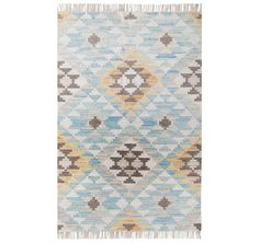 Tom Tailor - Check Kilim Turquoise Multi Rugs | Modern Rugs