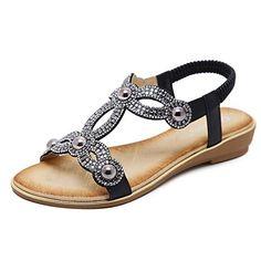 a6d245393b7043 Women T-Strap Rhinestone Beaded Gladiator Flat Sandals Summer Beach Sandal